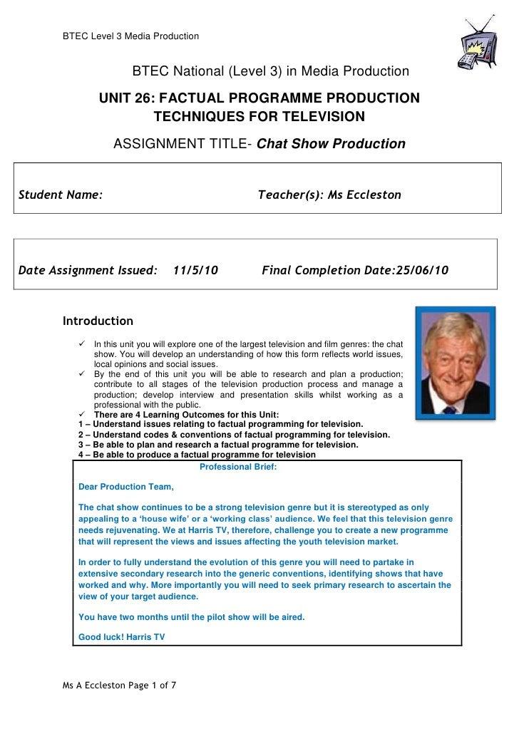 U26   chatshow btec assignment brief