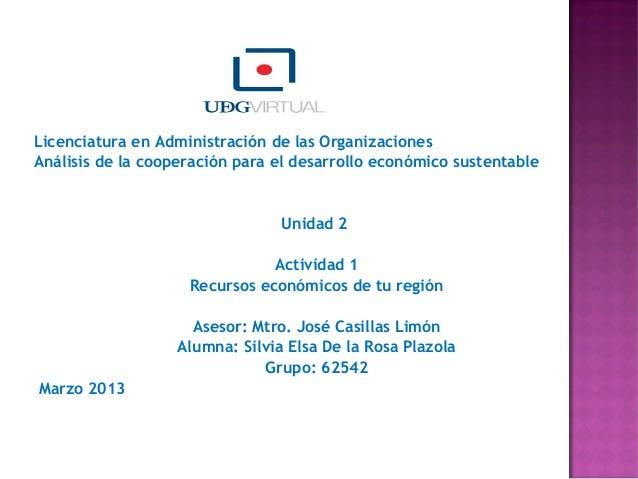 Licenciatura en Administración de las OrganizacionesAnálisis de la cooperación para el desarrollo económico sustentable  ...