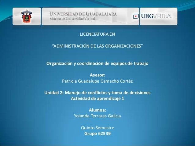 """LICENCIATURA EN   """"ADMINISTRACIÓN DE LAS ORGANIZACIONES"""" Organización y coordinación de equipos de trabajo                ..."""