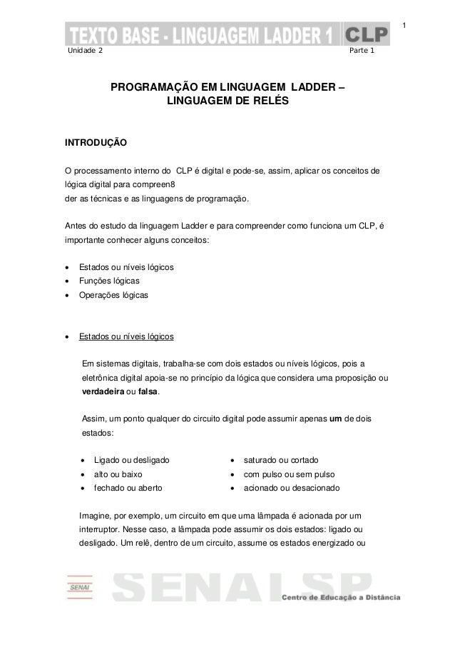 Unidade 2 Parte 1 1 PROGRAMAÇÃO EM LINGUAGEM LADDER – LINGUAGEM DE RELÉS INTRODUÇÃO O processamento interno do CLP é digit...