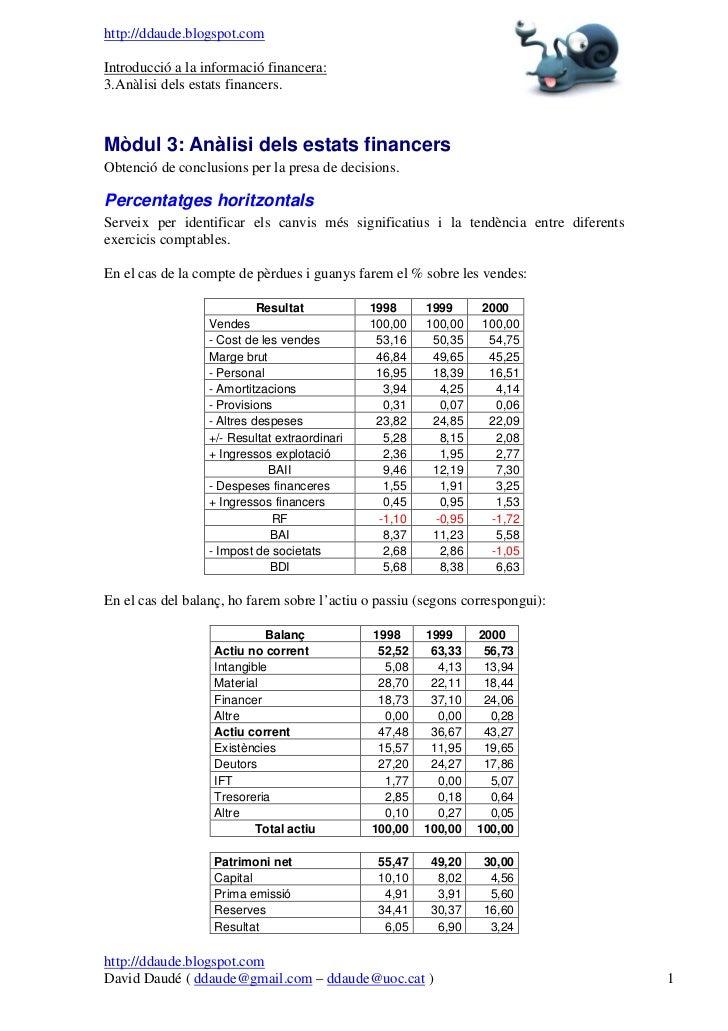 U3   anàlisi dels estats financers