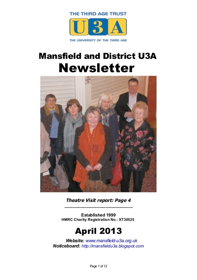 Mansfield and District U3A     Newsletter         Theatre Visit report: Page 4        _____________________________       ...