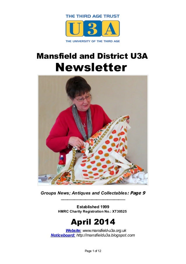 Mansfield and District U3A Newsletter Groups News; Antiques and Collectables: Page 9 _____________________________ Establi...