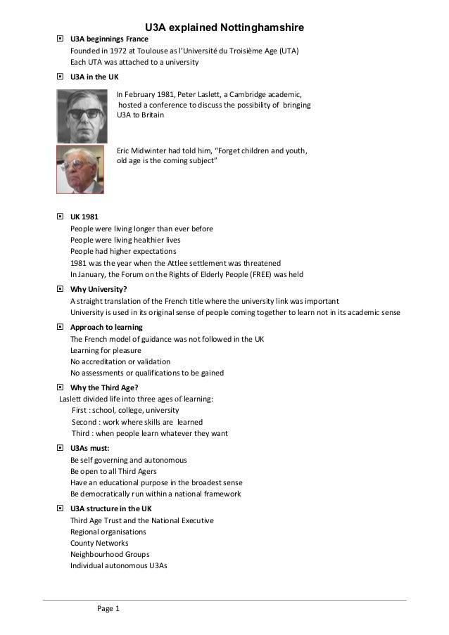 U3A Explained - Nottinghamshire