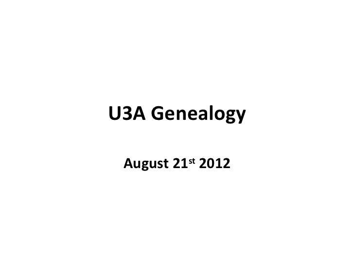 U3 a genealogy aug 2012