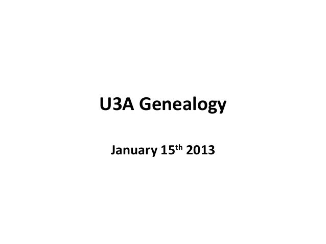 U3 a genealogy jan 2013