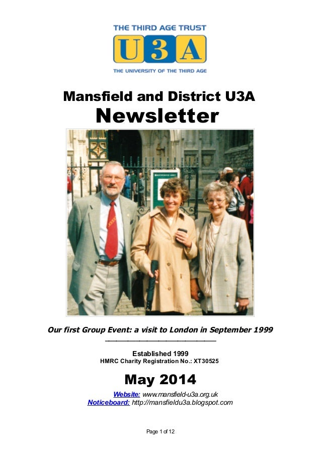 Mansfield U3A Newsletter - May 2014 (15th Anniversary Edition)