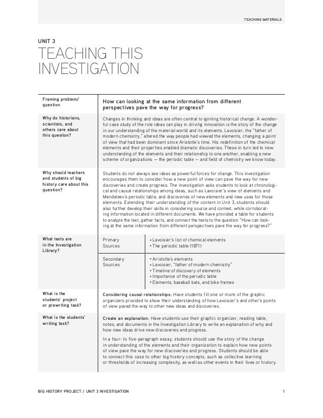 BIG HISTORY PROJECT / UNIT 3 INVESTIGATION 1  TEACHING MATERIALS  Framing problem/  question How can looking at the same i...