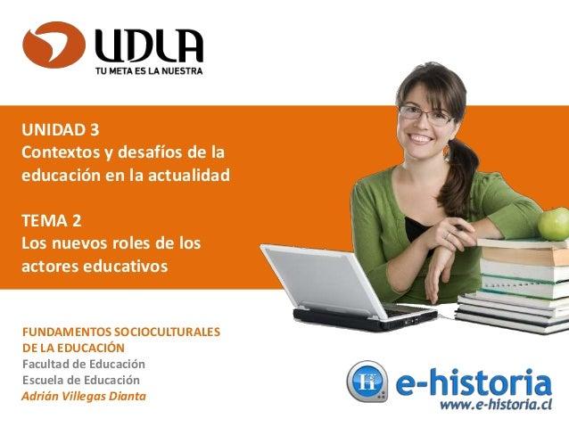 UNIDAD 3 Contextos y desafíos de la educación en la actualidad TEMA 2 Los nuevos roles de los actores educativos FUNDAMENT...