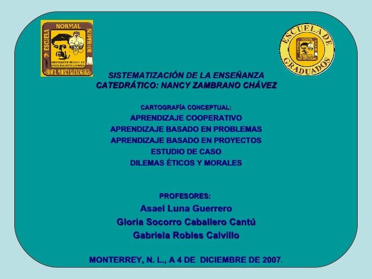 SISTEMATIZACIÓN DE LA ENSEÑANZA CATEDRÁTICO: NANCY ZAMBRANO CHÁVEZ <ul><li>CARTOGRAFÍA CONCEPTUAL: </li></ul><ul><li>APREN...