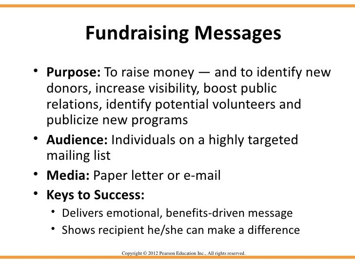 Fundraising Messages• Purpose: To raise money — and to identify new  donors, increase visibility, boost public  relations,...