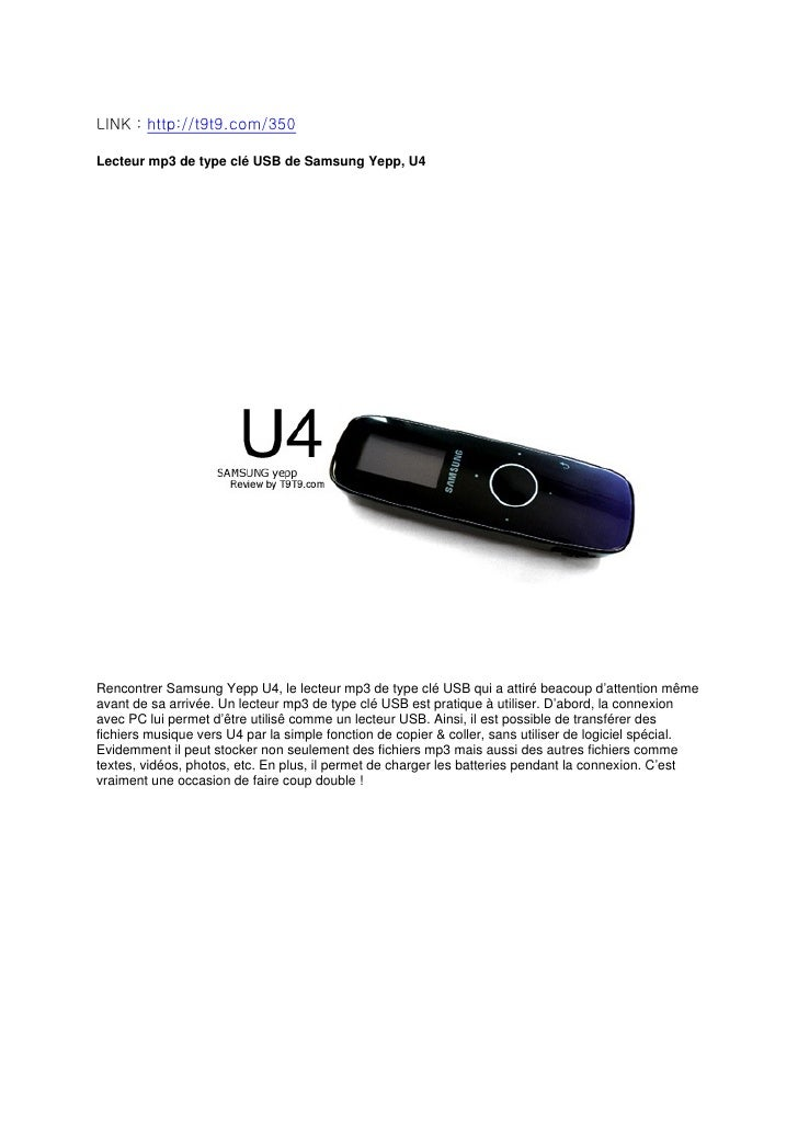 Lecteur mp3 de type clé USB de Samsung Yepp, U4 par T9T9
