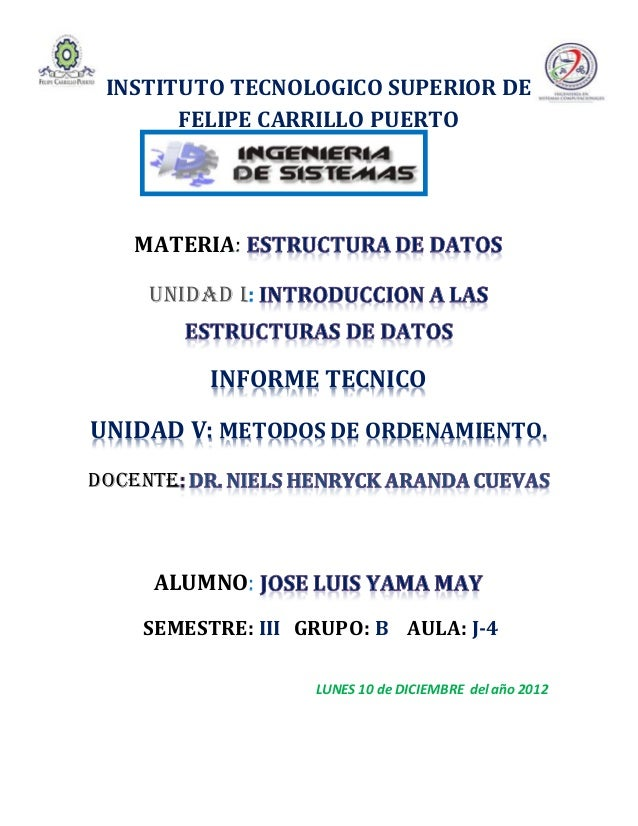 INSTITUTO TECNOLOGICO SUPERIOR DE       FELIPE CARRILLO PUERTO   MATERIA:    UNIDAD I:          INFORME TECNICOUNIDAD V: M...