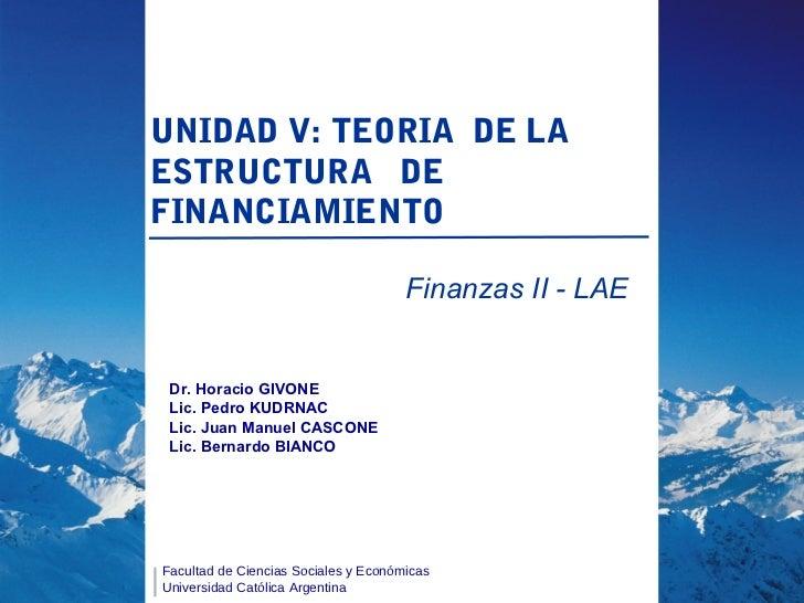 U5   la estructura de financiamiento