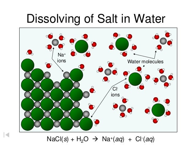 chem water and common salt Start studying water chemistry learn vocabulary, terms, and more with flashcards, games, and other study tools search create log how does a crystal of common salt dissolve in water water pulls the positive ions (na+) from the negative ions (cl-) because water has polar positive and.