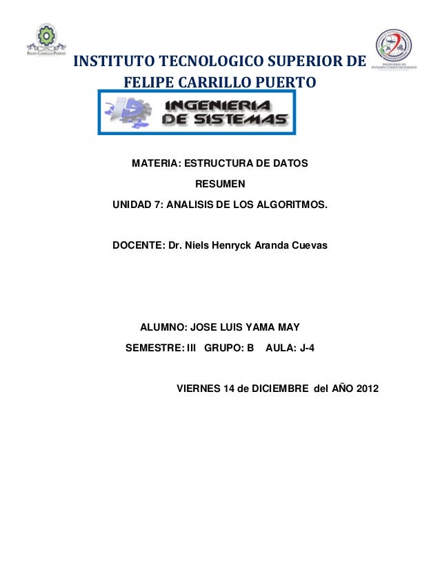 INSTITUTO TECNOLOGICO SUPERIOR DE      FELIPE CARRILLO PUERTO       MATERIA: ESTRUCTURA DE DATOS                   RESUMEN...