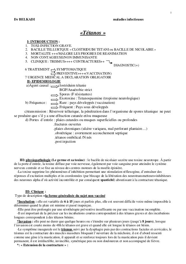 1 Dr BELKADI maladies infectieuses «Tétanos » I- INTRODUCTION : 1. TOXI-INFECTION GRAVE. 2. BACILLE TELLURTQUE « CLOSTRIDU...