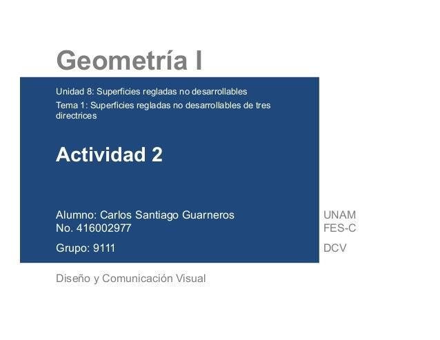 Geometría I Unidad 8: Superficies regladas no desarrollables Tema 1: Superficies regladas no desarrollables de tres ...