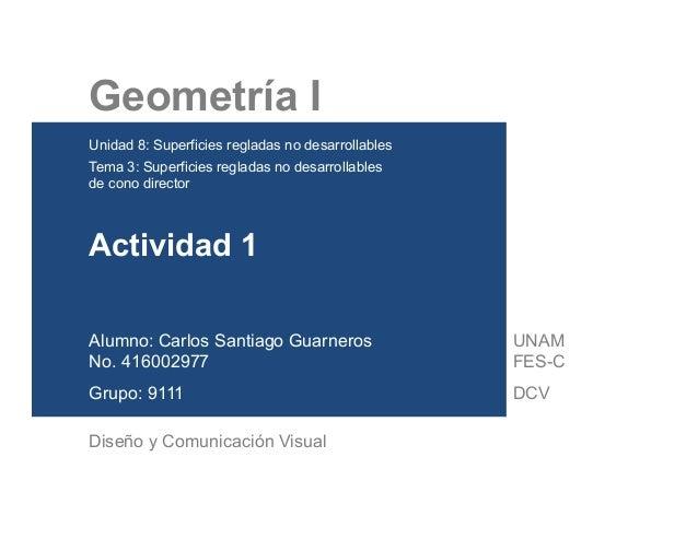 Geometría I Unidad 8: Superficies regladas no desarrollables Tema 3: Superficies regladas no desarrollables de cono ...