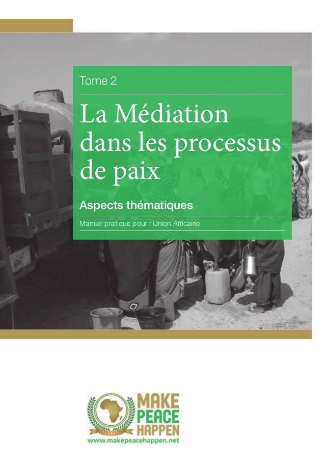 Tome 2  La Médiation dans les processus de paix Aspects thématiques Manuel pratique pour l'Union Africaine