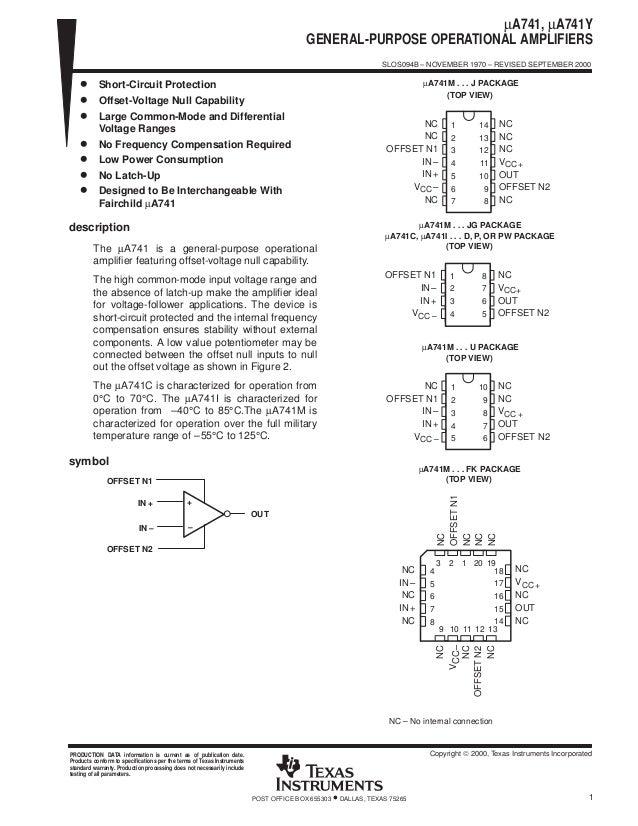 uA741 General Purpose Operational Amplifier