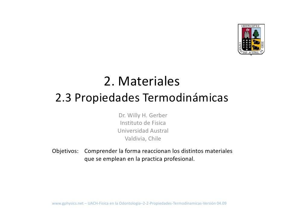 UACH Fisica En La Odontologia 2 3 Propiedades Termodinamicas
