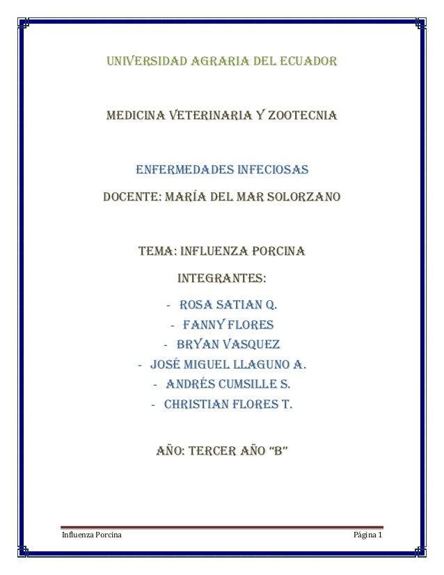 UNIVERSIDAD AGRARIA DEL ECUADOR            MEDICINA VETERINARIA Y ZOOTECNIA                    ENFERMEDADES INFECIOSAS    ...
