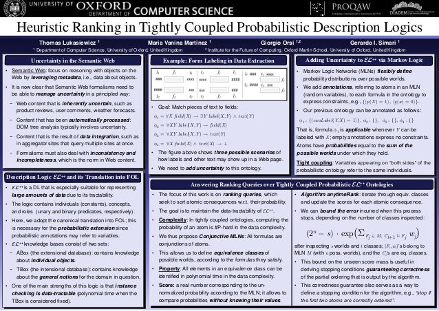 Heuristic Ranking in Tightly Coupled Probabilistic Description Logics                 Thomas Lukasiewicz 1                ...