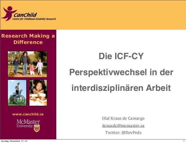 Research Making a Difference www.canchild.ca Die ICF-CY Perspektivwechsel in der interdisziplinären Arbeit Olaf  Kraus ...