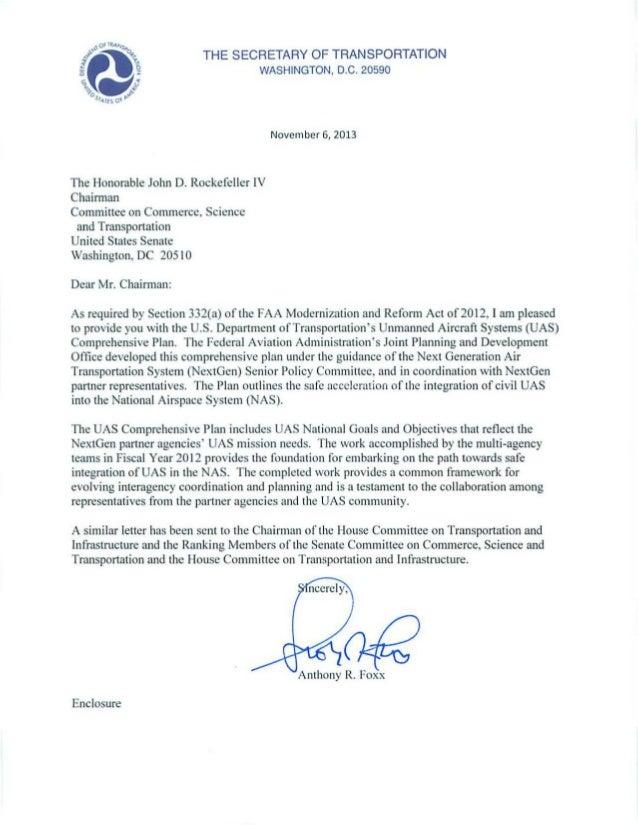 THE SECRETARY OF TRANSPORTATION WASHINGTON , D.C. 20590  November 6, 2013  The Honorable John D. Rockefeller IV Chairman C...