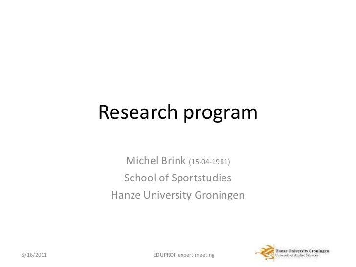 Presentation on research at the Hanzehogeschool Groningen