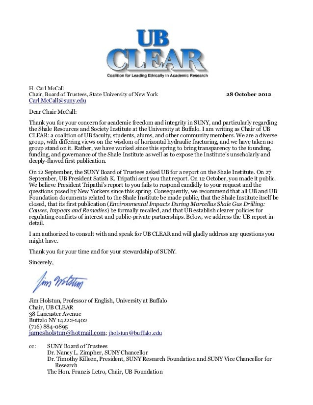 H. Carl McCallChair, Board of Trustees, State University of New York                          28 October 2012Carl.McCall@s...