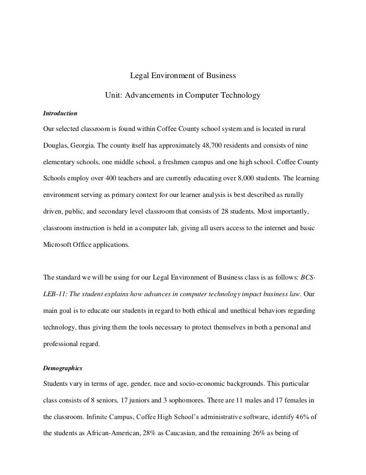 Legal Environment of Business                       Unit: Advancements in Computer TechnologyIntroductionOur selected clas...