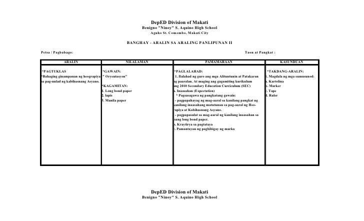 Ubd Lesson Plan In English Grade 7