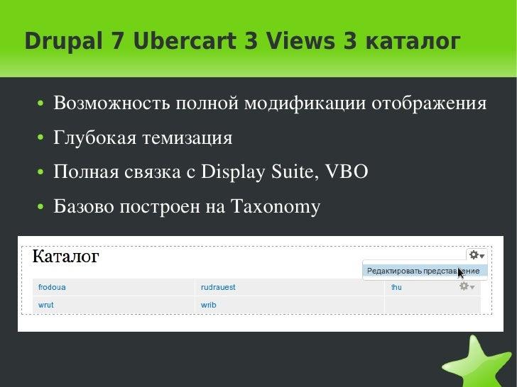 Drupal 7 Ubercart 3 Views 3 каталог    ●   Возможностьполноймодификацииотображения    ●   Глубокаятемизация    ●   Пол...