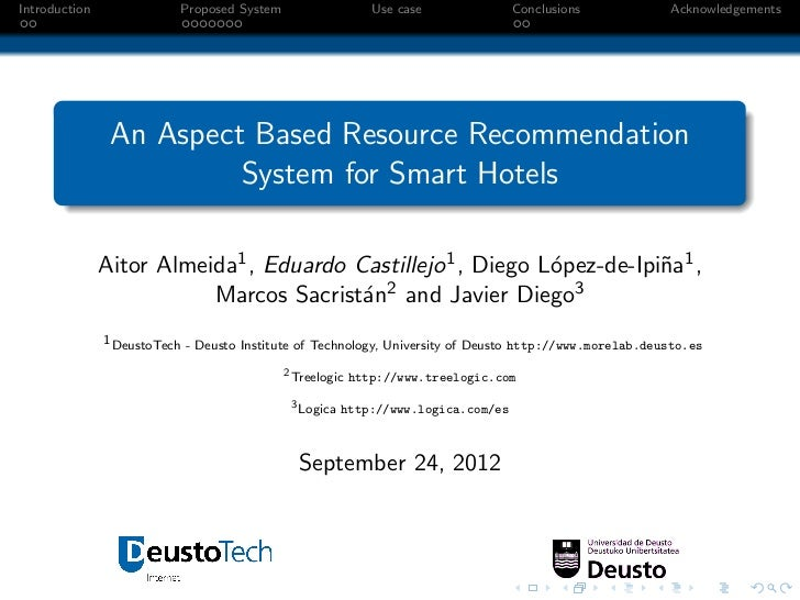 An Aspect Based Resource Recommendation System for Smart Hotels