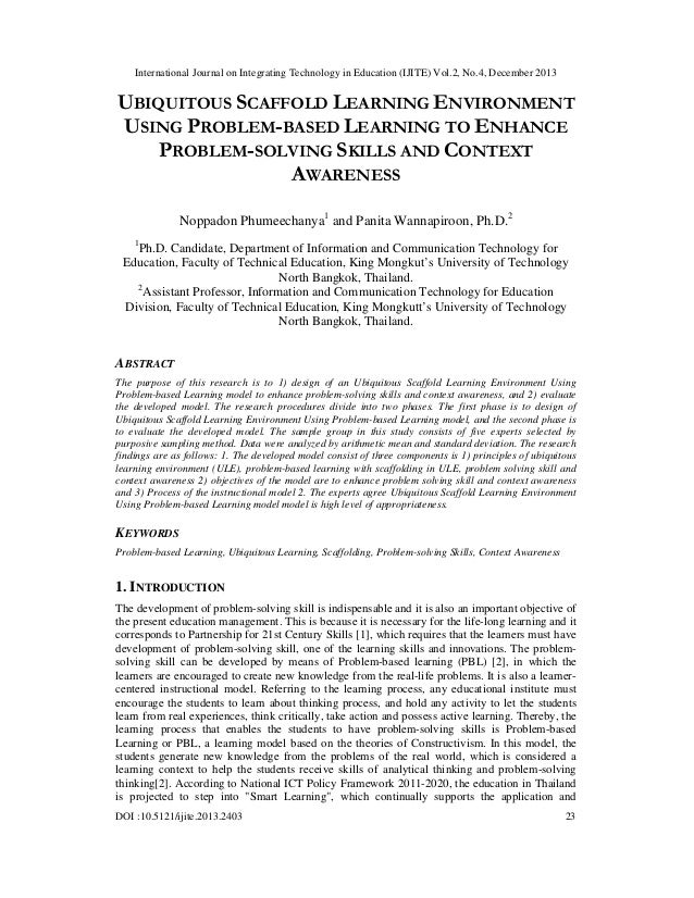 Ubiquitous scaffold learning environment using problem based learning to enhance problem-solving skills and context awareness