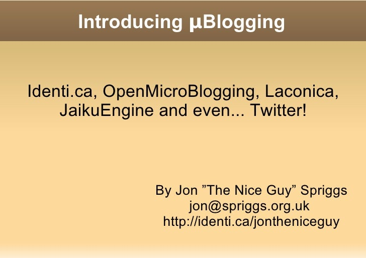 An introduction to µBlogging