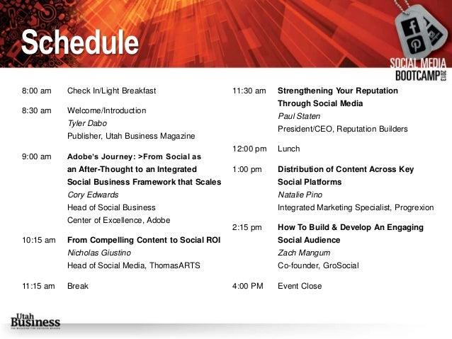 Social Media Bootcamp Event Program and Presenter Bios