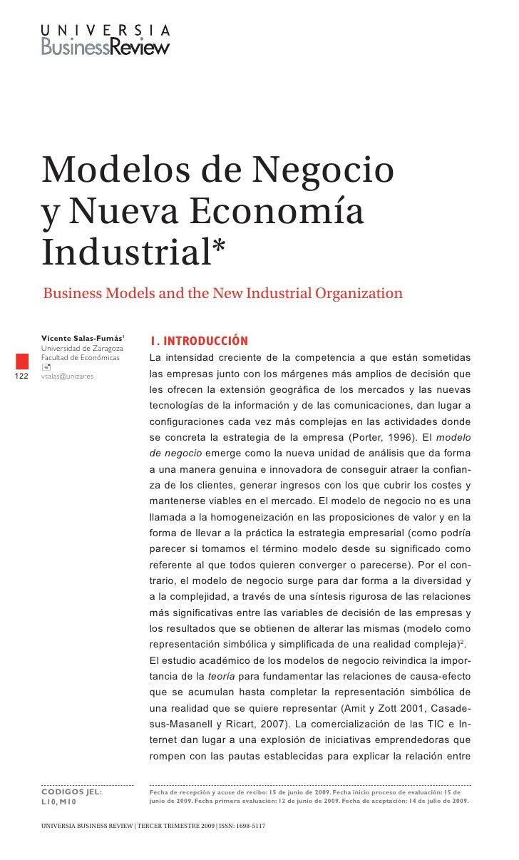 modelos de Negocio       y Nueva Economía       Industrial*       Business models and the New Industrial Organization     ...