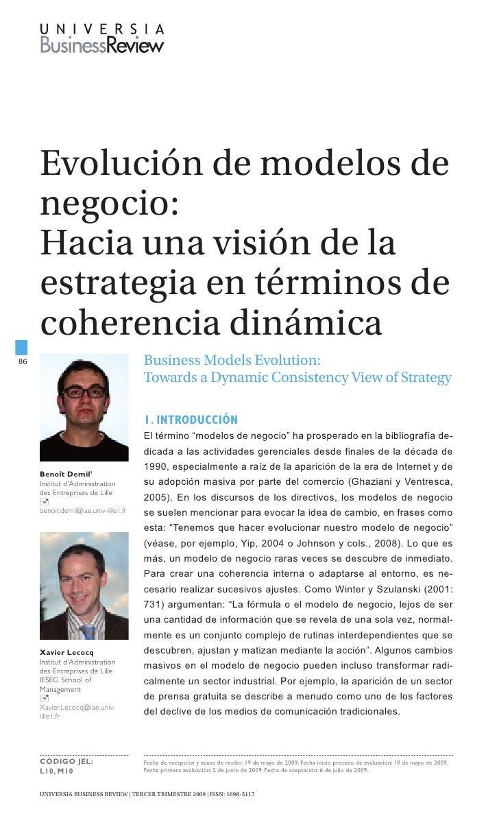 Evolución de modelos de      negocio:      Hacia una visión de la      estrategia en términos de      coherencia dinámica ...