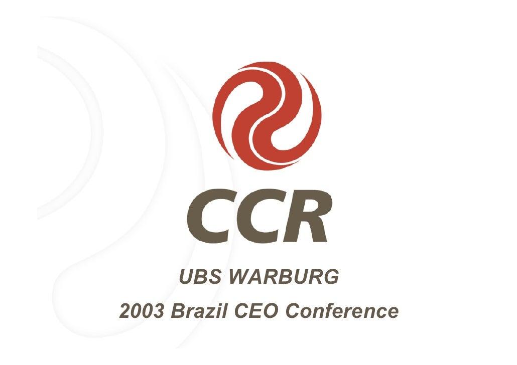 Ubs warburg conferência ceo brasil 2003