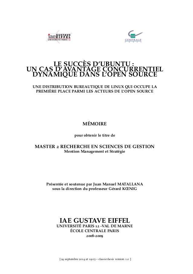 LE SUCCÈS D'UBUNTU : UN CAS D'AVANTAGE CONCURRENTIEL DYNAMIQUE DANS L'OPEN SOURCE UNE DISTRIBUTION BUREAUTIQUE DE LINUX QU...