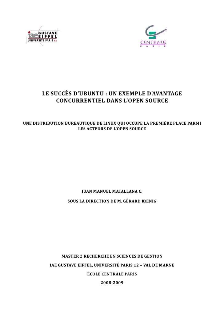 LE SUCCÈS DUBUNTU : UN EXEMPLE DAVANTAGE            CONCURRENTIEL DANS LOPEN SOURCEUNE DISTRIBUTION BUREAUTIQUE DE LINUX Q...