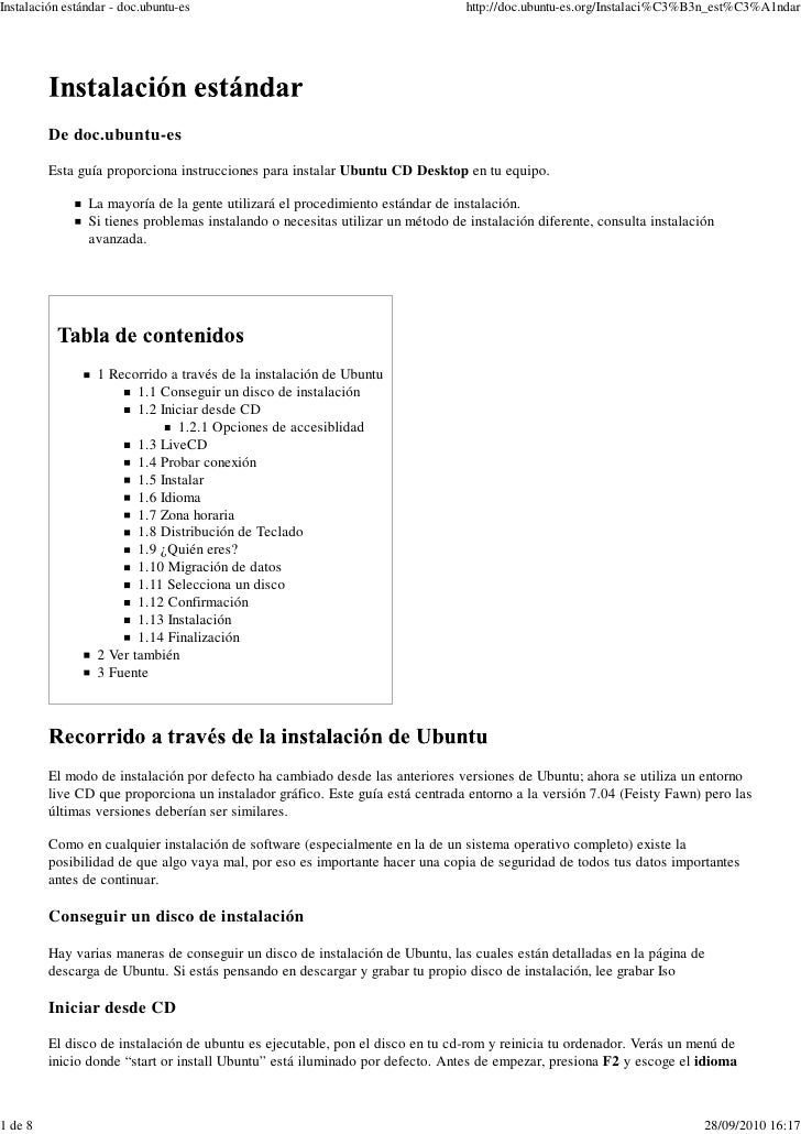 Ubuntu Instalación 01-Doc-Ubuntu - Instalación Estándar