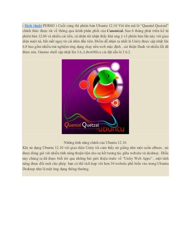 """( Dịch thuật PERSO ) Cuối cùng thì phiên bản Ubuntu 12.10 Với tên mã là """"Quantal Quetzal""""chính thức được tải về thông qua ..."""