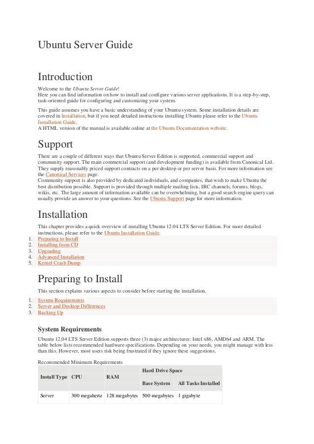 Ubuntu server guide
