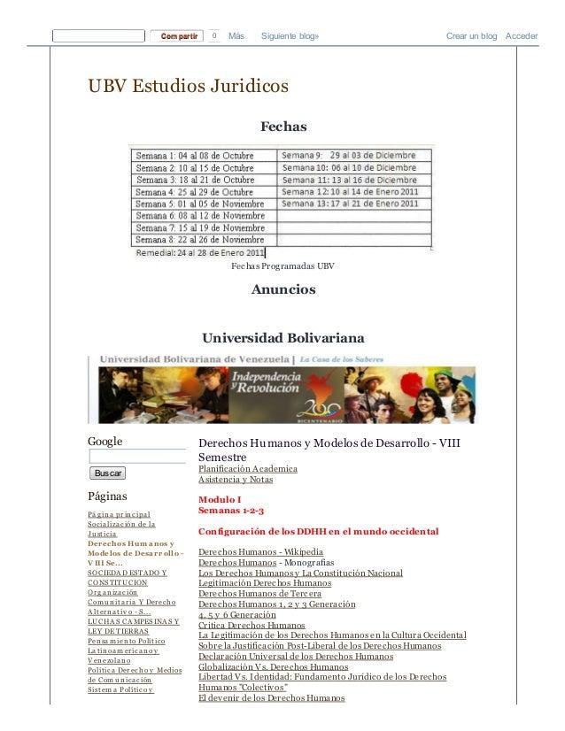 Ubv estudios juridicos  derechos humanos y modelos de desarrollo   viii semestre