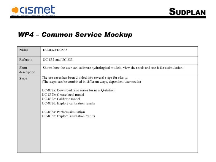 WP4 – Common Service Mockup Name UC-832+UC833 Refers to UC-832 and UC 833 Short description Shows how the user can calibra...