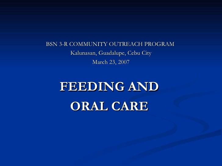 <ul><li>BSN 3-R COMMUNITY OUTREACH PROGRAM  </li></ul><ul><li>Kalunasan, Guadalupe, Cebu City </li></ul><ul><li>March 23, ...